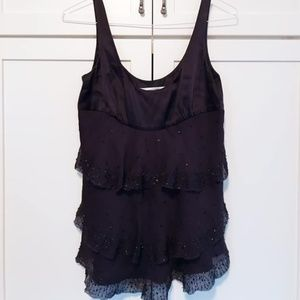Silk tiered beaded DVF top